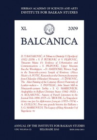 BALCANICA - Annual of the Institute for Balkan Studies XL