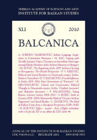 BALCANICA - Annual of the Institute for Balkan Studies XLI