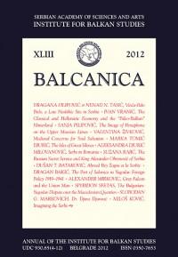 Balcanica XLIII 2012