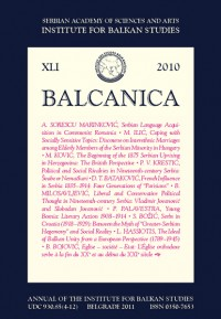 BALCANICA - Annual of the Institute for Balkan Studies XLI (2010)