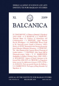 BALCANICA - Annual of the Institute for Balkan Studies XL (2009)