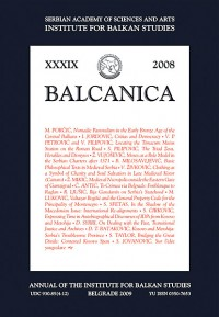BALCANICA - Annual of the Institute for Balkan Studies XXXIX (2008)