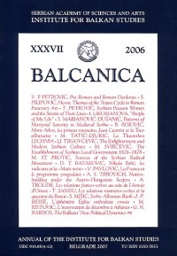 BALCANICA - Annual of the Institute for Balkan Studies XXXVII (2007)