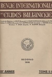BALCANICA - Annuaire de l'Institut des Etudes Balkaniques  (1938)