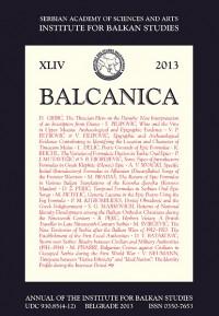 Balcanica XLIV 2013